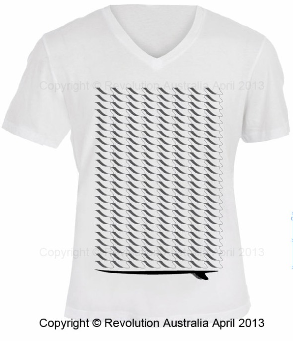 surfboard pattern t shirt