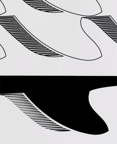 Surfboard pattern t shirt - detail