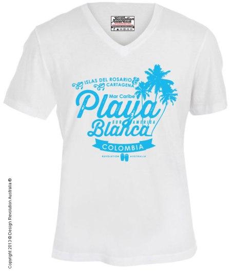 Playa blanca T shirt, white beach, caribbean, caribbean island, beach, holidays, surf t shirt, cool t shirt, designer t shirt, t shirt, white t shirt, revolution australia, design revolution australia.