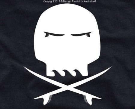 SURF SKULL, skull, cross bones, surfboards, surf t shirt, cool t shirt, designer t shirt, t shirt, white t shirt, revolution australia, design revolution australia, Jolly Roger, surf Jolly Roger,