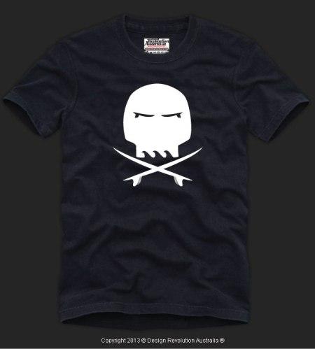 SURF SKULL, skull, cross bones, surfboards, surf t shirt, cool t shirt, designer t shirt, t shirt, white t shirt, revolution australia, design revolution australia.